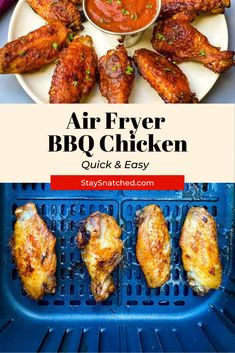 This Easy Air Fryer BBQ Chicken is made using wings, your favorite barbecue rub, and drizzled in BBQ sauce for the perfect grilled taste. You can make these using fresh or frozen chicken. Vegetarian Grilling, Healthy Grilling Recipes, Barbecue Recipes, Veggie Recipes, Vegetarian Recipes, Chicken Recipes, Barbecue Sauce, Veggie Food, Air Fry Recipes