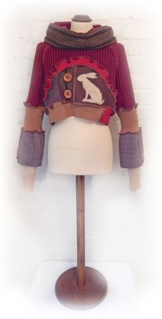 Hare Cropped Jumper Upcycled Rustic Recycled от TheTopianDen
