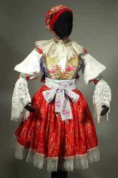 Czech Folk Costume Moravian outfit blouse skirt apron vest Hluk ethnic kroj old