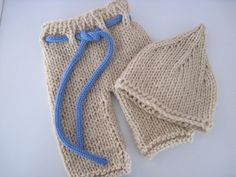 Knit baby pants with drawstring and pixie hat set - Newborn. $28.00, via Etsy.