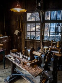 Old wood working shop at the Zuiderzee museum. The Netherlands.