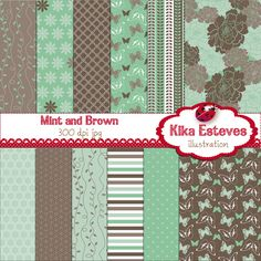 """Mint and Brown Papers - Digital Clipart    12 High Resolution 300dpi JPEG papers  Each digital clipart image size is: 12"""" x 12"""""""