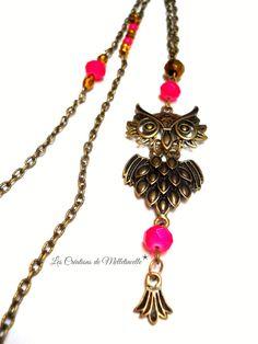 Sautoir bronze Chouette bohéme pendentif Hibou chouette articulé ,perles abacus en verre rose fluo. #Bijoux #Chouette #Hibou #Sales