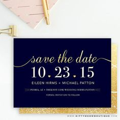 Navy & Champagne Gold Glitter, Elegant Script Wedding - Save the Date Cards by KittyMeowBoutique