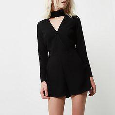 Petite black choker neck playsuit - playsuits - playsuits / jumpsuits - women