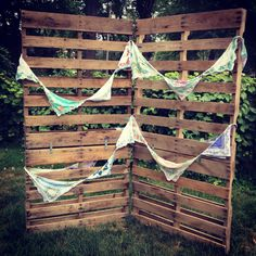 Handkerchief banners on pallet backdrop