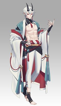 Fantasy Characters, Anime Characters, Character Concept, Character Art, Manga, Anime Hairstyles Male, Oni Mask, Fantasy Art Men, Anime Girl Drawings