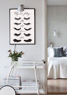 "Minimalist poster ""eye lashes"", fashion print, wall decor, m Girls Bedroom Colors, Boys Bedroom Decor, Girl Bedroom Designs, Bedroom Art, Nursery Decor, Gypsy Decor, Madison Square Garden, Fashion Wall Art, Minimalist Bedroom"