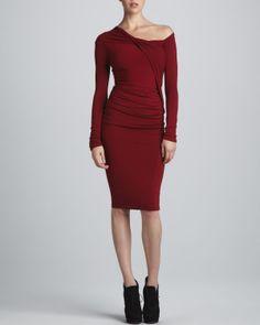 Donna Karan One-Shoulder Draped Dress