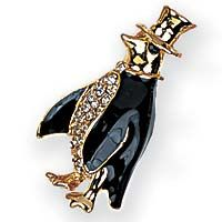 Top Hat Elegant Penguin Pin Brooch Unique Design Sparkling Rhineston Crystals