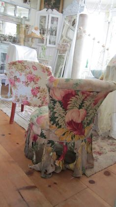 Vintage slipper chair with bark cloth shabby chic Victorian cottage chic