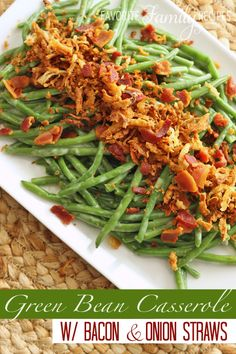 I am typically not a fan of green bean casserole but this was DELICIOUS!!!! Skip the cream of mushroom and canned onions and go for bacon and onion straws! The flavor is outstanding! favfamilyrecipes.com
