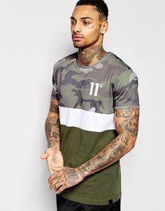 b195967ed482 Image 1 of 11 Degrees T-Shirt With Camo Print Panel Mens Fashion, Fashion