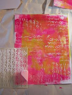 Joy to the World with Gelli Papers!...Great idea and love the look...just add white lettering on the finished gelli print with stencil and a cosmetic sponge.