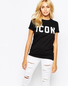 Image 1 of Adolescent Clothing Boyfriend T-Shirt With Icon Print