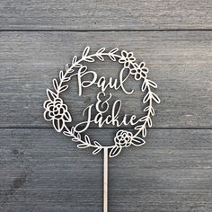 "Floral Wreath Wedding Cake Topper with Personalizable Names 5.5""D inches, Personalized Custom Unique Laser Cut Wood Rustic Toppers by NgoCreations on Etsy https://www.etsy.com/listing/499203492/floral-wreath-wedding-cake-topper-with"