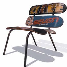 Skateboard chair - not sure how comfortable it would be, but looks cool