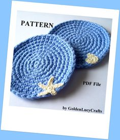 This listing is for a PDF PATTERN of the Ocean Theme Coasters. Pattern includes instructions for the coaster, for the tiny sea star and sea shell appliques. Coaster is about 4-1/2(11 cm) in diameter. Note it is for the PATTERN only, not the finished item. You need to know how to