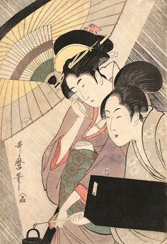 『夜の雨に芸者と三味線箱を持つ女』(喜多川歌麿 画)