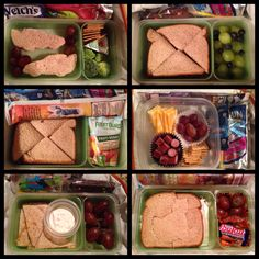 School Lunch Ideas for Kids - 1. Turkey, cheese & mayo Cars cut-outs (you can get 2 out of a sandwich), red grapes, broccoli florets, Wheat Thins and a laughing cow swiss cheese, Welch's fruit chews and a Capri Sun juice pouch 2. Peanut butter & jam sandwich (yes, its actually allowed at our school!), green grapes and blueberries, cosmic brownie (or chocolate domino as Mr.Monster likes to call it), Capri Sun juice pouch.......