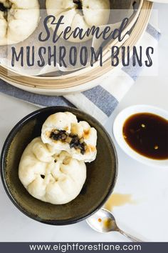 Soft, fluffy and sweet, these mushroom steamed buns are filled with a savoury vegetarian filling and served with a spicy dipping sauce. Steam Buns Recipe, Bun Recipe, Chinese Cooking Wine, Chinese Food, Dumpling Filling, Chicken Spring Rolls, Vegetarian Recipes, Cooking Recipes, Steamed Buns