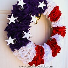 Red, White,  Blue Felt Ruffle Wreath = 11 Gorgeous 4th of July Wreaths