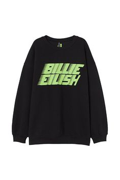 Sweatshirt with Graphic Print - Black/Billie Eilish - Ladies Outfits For Teens, Cute Outfits, Billie Eilish Merch, Trendy Hoodies, Bleach Tie Dye, Printed Sweatshirts, Fashion Company, Aesthetic Clothes, Fashion Outfits