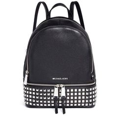 Michael Kors 'Rhea' small stud leather backpack (€490) ❤ liked on Polyvore featuring bags, backpacks, michael kors, black, michael kors backpack, leather rucksack, backpack bags, punk backpack and leather knapsack