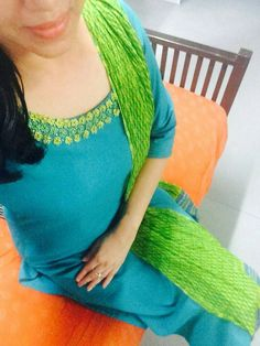 The color is absolute love Salwar Neck Designs, Dress Neck Designs, Blouse Designs, Churidar Pattern, Kurti Patterns, Ethnic Fashion, Indian Fashion, Indian Attire, Indian Outfits