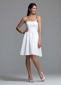 Adorable cotton sateen dress is perfect for any special occassion!  Features a strapless bodice with pleated detail & full skirt. Available in White or Ivory.  Fully lined.  Back zip.  Imported polyester.  Dry clean only.  *Special Value: Was ; Now ! (final selling price; no additional discount may be applied). To protect your dress, our Non Woven Garment Bag is a must have!