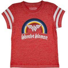 75a0a8b4 DC SUPERHERO GIRLS - Wonder Woman DC Comics Girls' Burnout Tee with Sleeve  Stripes -