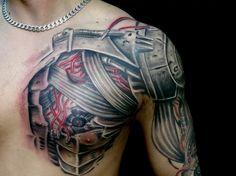 robotic chest piece by karlinoboy on DeviantArt Robotic Arm Tattoo, Cyborg Tattoo, Robot Tattoo, Chest Tattoo Wolf, Chest Piece Tattoos, Nature Tattoo Sleeve, Tribal Sleeve Tattoos, Chest Tattoos For Women, Arm Tattoos For Guys