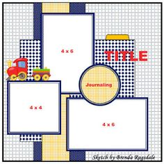 layout sketch by Brenda RagsdaleWhite Cardstock background get rid of train and circle use for Greece photo, 1 pageLittle Boy's scrapbook pageColby at pool with mommy and daddy - Scrapbook Layout Sketches, Scrapbook Templates, Scrapbook Designs, Card Sketches, Scrapbook Paper Crafts, Scrapbooking Layouts, Baby Boy Scrapbook, Baby Scrapbook Pages, Scrapbook Cards