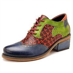 Crazycatz Womens Velvet Embroidery Mary Jane Block Heel Shoes