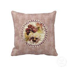 Vintage Pansies pillow