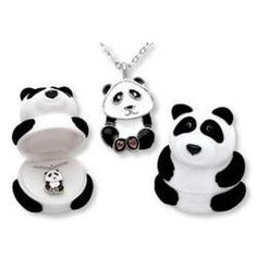 Black Friday 2014 Panda Bear Pendant Necklace in Figural Gift Box from DM Merchandising Cyber Monday. Black Friday specials on the season most-wanted Christmas gifts. Cartier, Crystal Necklace, Pendant Necklace, Necklace Charm, Crystal Pendant, Haul, Panda Gifts, Cute Panda, Panda Bear