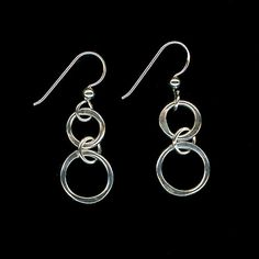 Circle Earrings, Silver Earrings, Wire Earrings, Open Round Earrings, Earrings Sterling Silver Chain Link Hammered Bold Circles