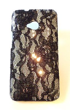 New HTC ONE Bling Sequin Lace Cell Phone Hard Case M7 by Yunikuna