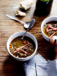 Spiced lentil soup with crisp bacon