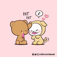 Cute Bear Drawings, Cute Cartoon Drawings, Cute Love Gif, Cute Love Cartoons, Cute Doodles, Cute Bears, Cute Creatures, Emoticon, Anime Love