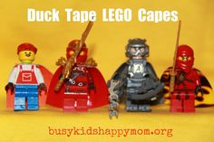 How-to Duct Tape minifig capes! Genius--especially if the minifigs get lots of play these will be sooo durable!