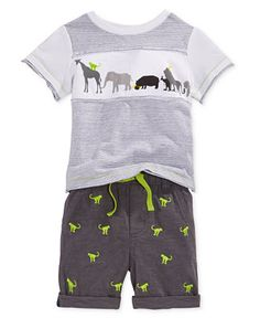 First Impressions Baby Boys' 2-Piece Animals on Parade T-Shirt & Shorts Set, Only at Macy's - Sets - Kids & Baby - Macy's