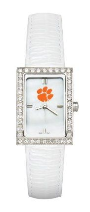 Clemson Tigers Ladies Allure Watch White Leather Strap by Logo Art. $59.99. Miyota quartz movement (377 battery). Case is 7/8-Inch wide by 1 1/4-Inch tall. Limited lifetime warranty. Mother of pearl dial with raised markers and mineral crystal, glossy padded white leather strap. Officially licensed ladies fashion watch with mother of pearl dial. This women's fashion watch has a mother of pearl dial with team color logo and raised hour markers.  Features polished chrome finish ...