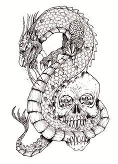 Chinese Dragon And Skull by tjiggotjurring on deviantART