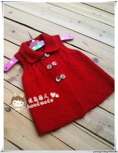 2013 opened the first shot - Crystal lovers - Crystal lovers Knitting For Kids, Baby Knitting Patterns, Kids Vest, Baby Girl Jackets, Knit Baby Dress, Crochet Girls, Baby Vest, Baby Sweaters, Crochet Fashion