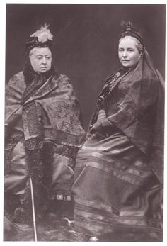 Queen Victoria and her daughter Vicky, Queen of Prussia. They are wearing mourning clothes. Victorians spend much of their time in mourning for assorted relatives. Queen Victoria Children, Queen Victoria Family, Queen Victoria Prince Albert, Victoria And Albert, Princesa Victoria, Reine Victoria, Victoria Reign, Wilhelm Ii, Queen Victoria