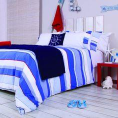 EXCLUSIVE HOME FASHIONS   Striped Duvet Set - Homeware - 5rooms.com Duvet Sets, Something Blue, Queen Size, Duvet Covers, Comforters, Pillow Cases, Blanket, Cool Stuff, Bedroom