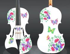 Butterfly Dream II White Violin Outfit, 1/2 - (2 sided design)  #RozannasViolins