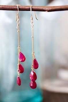 https://www.bkgjewelry.com/ruby-rings/127-18k-yellow-gold-diamond-ruby-ring.html 3 Drop Ruby Dangle Earrings. by ERoseJewelry