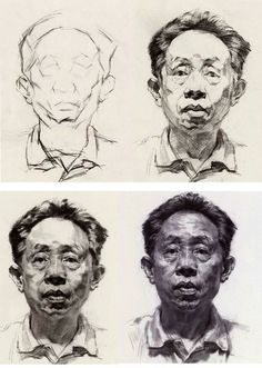 Great Step by step drawing, Artist / unknown, if you know the artist please share the name for credit ❤️ Portrait Sketches, Portrait Art, Drawing Sketches, Art Drawings, Portraits, Human Sketch, Human Drawing, Figure Drawing, Painting & Drawing